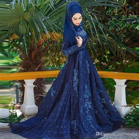 Navy Blue Lace Evening Dress Formal Gowns Long Sleeves 2017 Hijab Turkish Prom Dress Lace