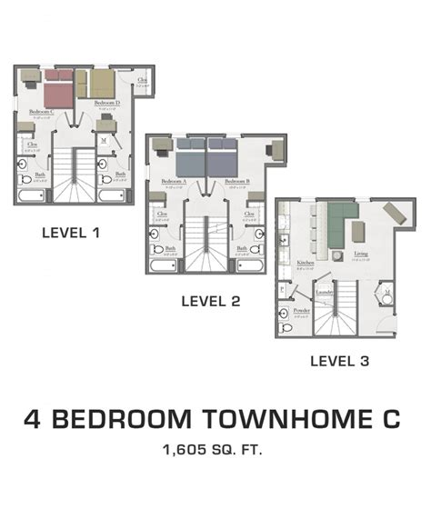 4 bedroom townhomes 4 bedroom townhome c hannah lofts and townhomes