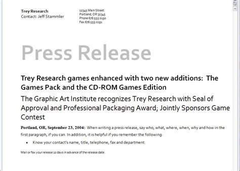 microsoft press release template free press release template