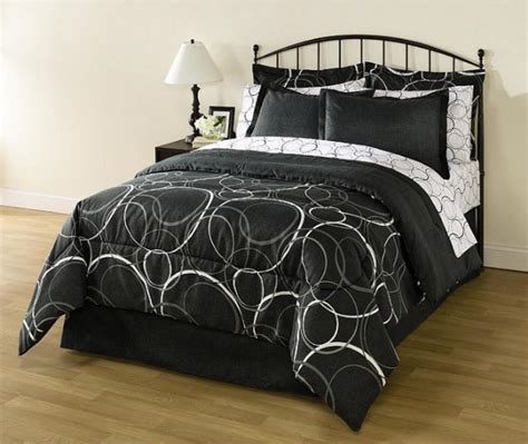 black full size comforter set white black gray circles geometric 8 piece comforter