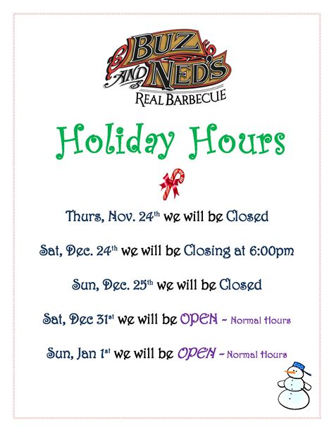 holiday hours sign template calendar template 2016 holiday hours 2016 buz and ned s real barbecue