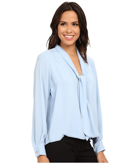 Tie Sleeve Blouse tie blouse blue denim blouses