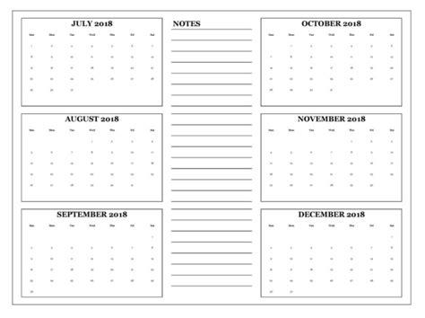 Calendar 2018 6 Month 6 Month One Page Calendar 2018 Calendar 2018