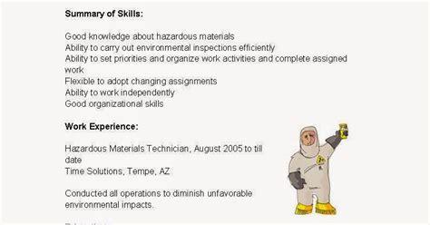 Hazardous Waste Technician Sle Resume by Resume Sles Hazardous Materials Technician Resume Sle
