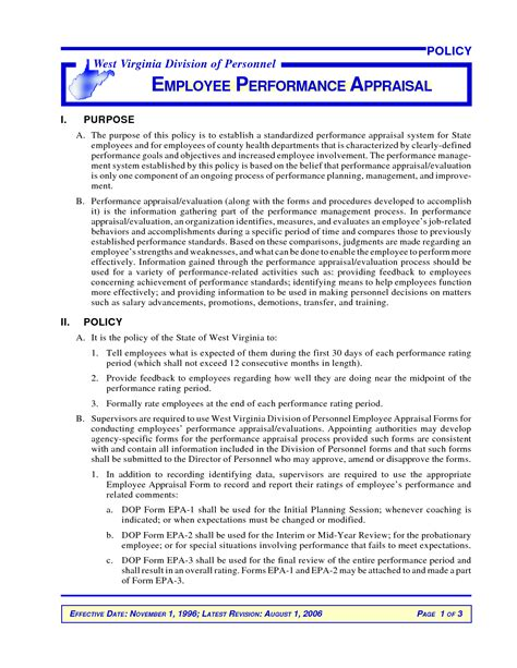 performance goals template ideas for goals objectives for performance evaluations