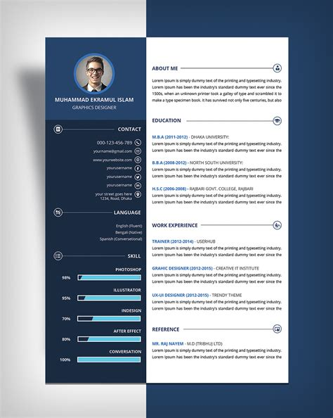free beautiful resume cv design template psd file good