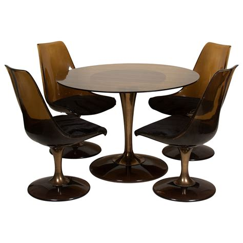tulip and chairs amber glass top tulip dining and chairs for sale at