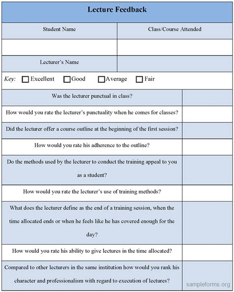 feedback form template best photos of lecture evaluation form template