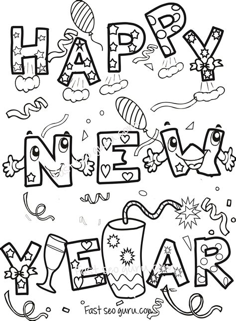 happy new year coloring pages for toddlers happy new year coloring sheets for kids