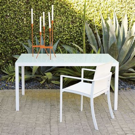 Modern White Glass Top Outdoor Table White Glass Patio Table