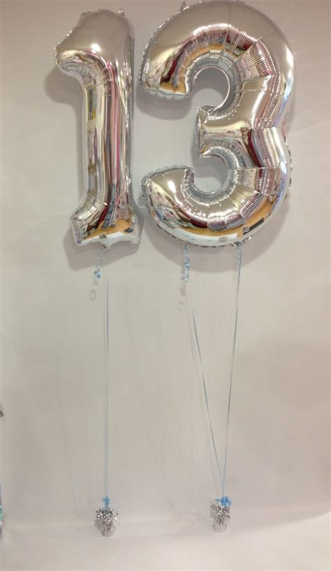Large Silver 13 Number Balloons