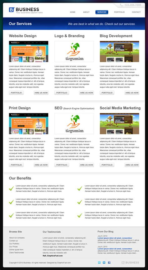 Professional Business Template In Photoshop Psd Hongkiat Professional Website Templates