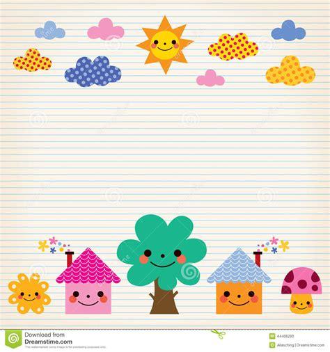 Houses Plan by Cute Houses Tree Sun Mushroom Clouds Kids Lined Paper