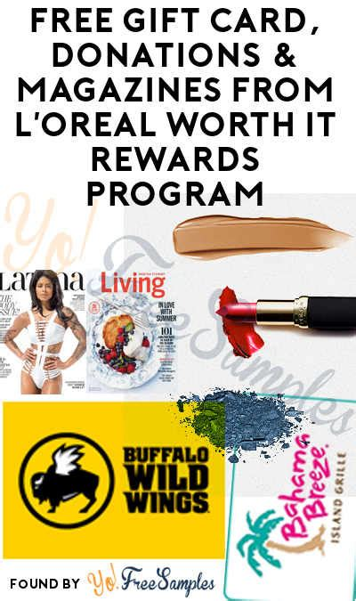 Gift Card Donations - free gift card donations magazines from l oreal worth it rewards program yo free