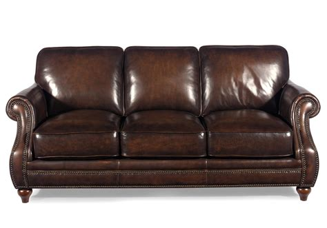 Leather Nailhead Sofa by Hickorycraft L121550 Traditional Leather Sofa With Rolled