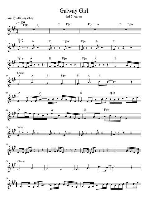 ed sheeran perfect key of c ed sheeran galway girl sheet music for violin music