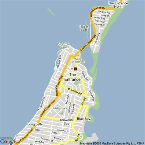 map   entrance nsw hotels accommodation