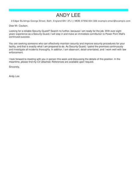 security guard cover letter sample job and resume template cover