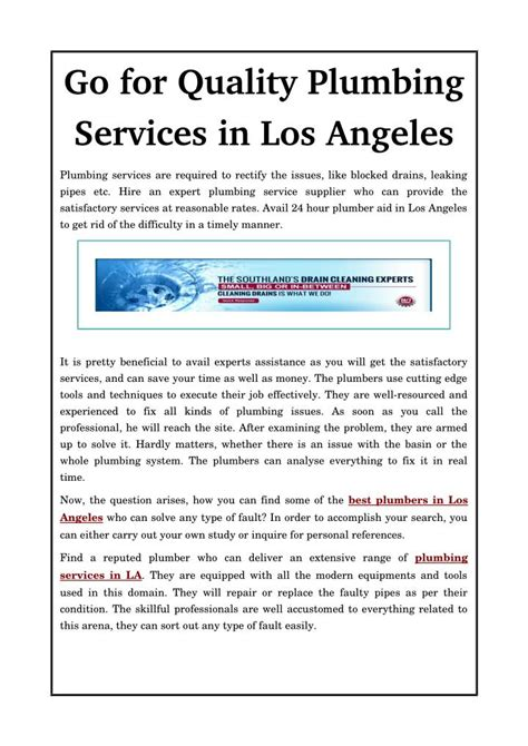 Plumbing Service Los Angeles by Ppt Go For Quality Plumbing Services In Los Angeles