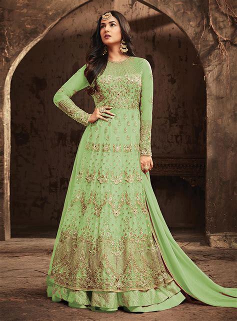 sonal chauhan lehenga sonal chauhan green net indo western lehenga choli 138436