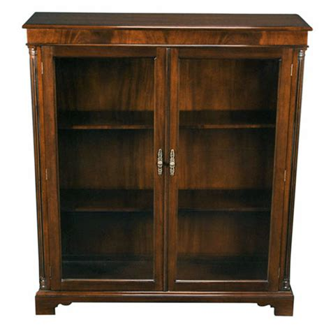 Wood Bookcase With Glass Doors Solid Mahogany Glass Door Closed Bookcase With Adjustable Shelves Ebay