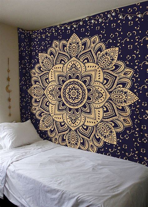 all that jazz wall tapestries and tapestries on pinterest blue gold passion ombre boho mandala tapestry wall
