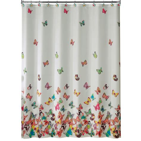 material shower curtains essential home tahka butterfly fabric shower curtain
