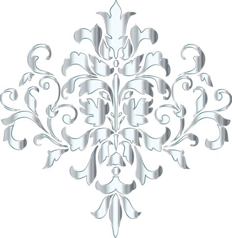 Silver Pattern Png | clipart silver damask design no background
