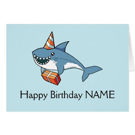 happy birthday shark card personalized template zazzle