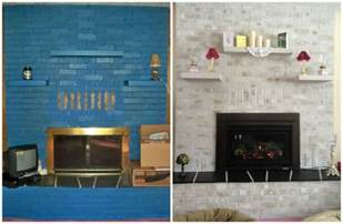 paint brick fireplace before after hometalk previously blue brick painted fireplace