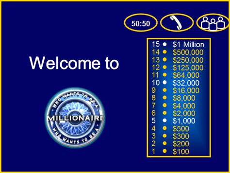 Who Wants To Be A Millionaire Powerpoint Template The Who Want To Be A Millionaire Template Powerpoint With Sound