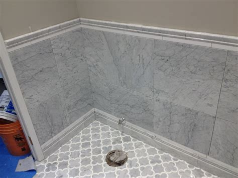 white marble tile bathroom edmonton tile install white marble bathroom river city
