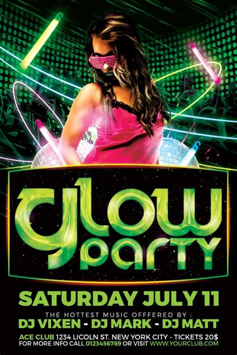 Crm Glow Neon Party Flyer Template Rar Flyer Template Rar