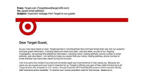 Target Credit Card Breach Letter Target Email To Customers Offering Free Credit Monitoring Is Not A Scam Huffpost