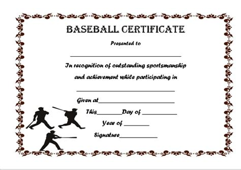 baseball certificate template 20 attention grabbing free printable baseball
