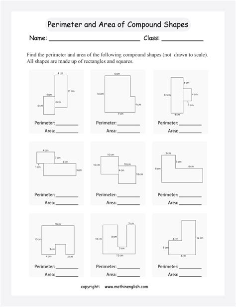 find the perimeter and area of compound shapes not drawn