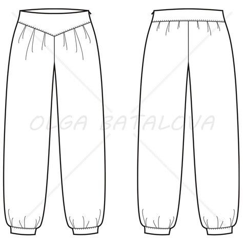 Women S Harem Pants Fashion Flat Template Illustrator Stuff Sweatpants Template Vector