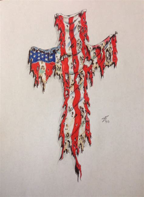 american flag cross tattoo all images to american flag on cross white