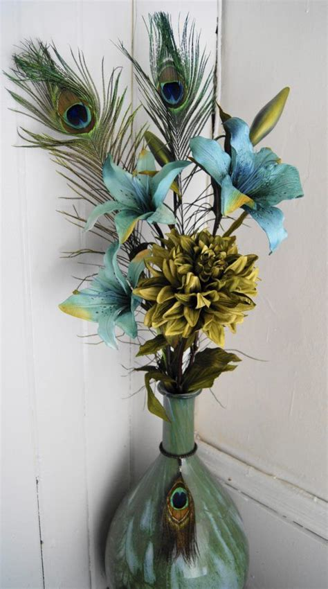 peacock feather home decor flower arrangement with peacock feathers