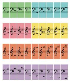 piano flashcards these are all the notes of the grand staff including low