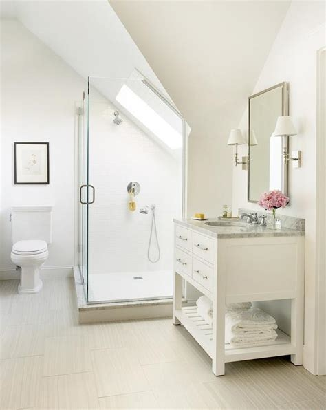 slope ceiling shower with sloped ceiling skylight transitional bathroom