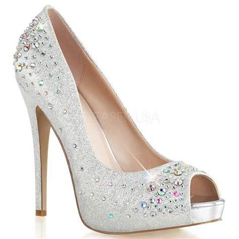 silver high heels pumps pleaser hei22r sfa silver shimmer gem
