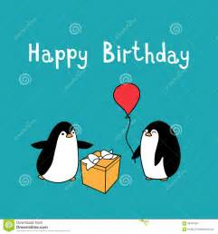 happy birthday with penguins stock vector image 58704367