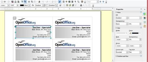 open office business card template creating your own business cards in libreoffice and apache