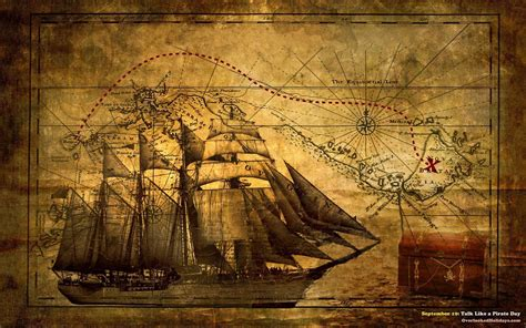 Nautical Chart Wallpaper by Pirate Desktop Wallpapers Wallpaper Cave