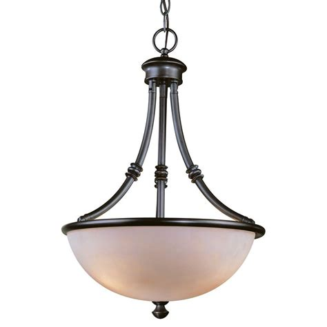 Hton Bay Pendant Lights Hton Bay Stanton 3 Light Bronze Patina Bowl