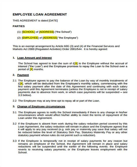 Employee Loan Letter Format Loan Agreement Form Template