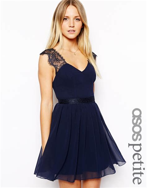 asos exclusive eyelash lace skater dress in blue lyst