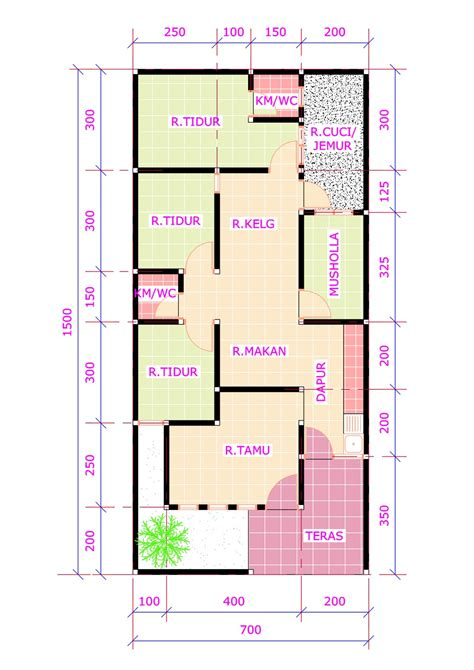 denah rumah 3 kamar tidur 1 mushola minimalis