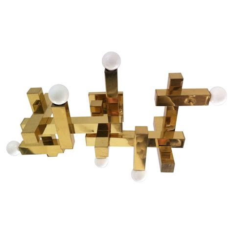 sciolari flush ceiling wall light a polished brass quot cubic